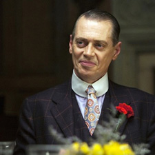 Steve Buscemi wearing a custom-made shirt by Saint Laurie in New York City Boardwalk Empire