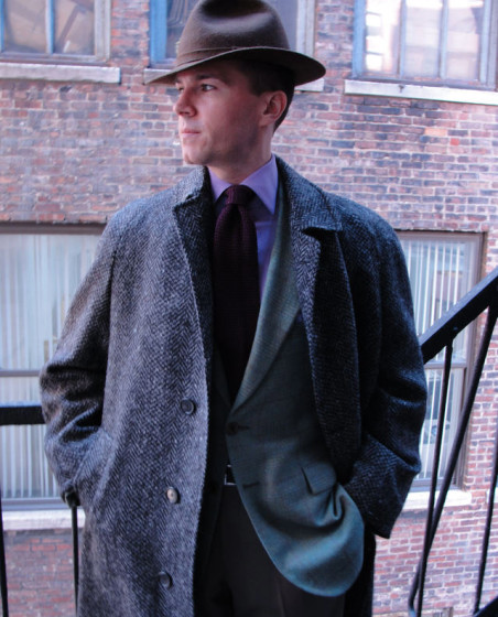 Custom raglan tweed overcoat